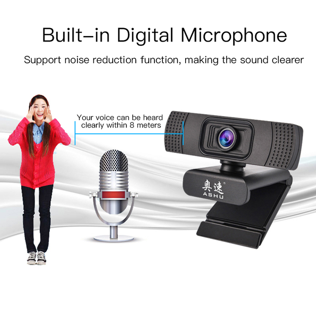 USB 2.0 Web Digital Camera Webcam Full HD 1080P Webcams with Microphone Clip-on 2.0 Megapixel CMOS Camera Web Cam for Computer 4