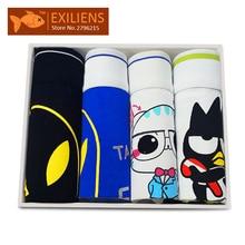 [EXILIENS] Hot Underwear 4 Four Piece Suit Men's Shorts Boxers Cartoon pants Cotton Panties Male Brand Man Underpants Size M-XL