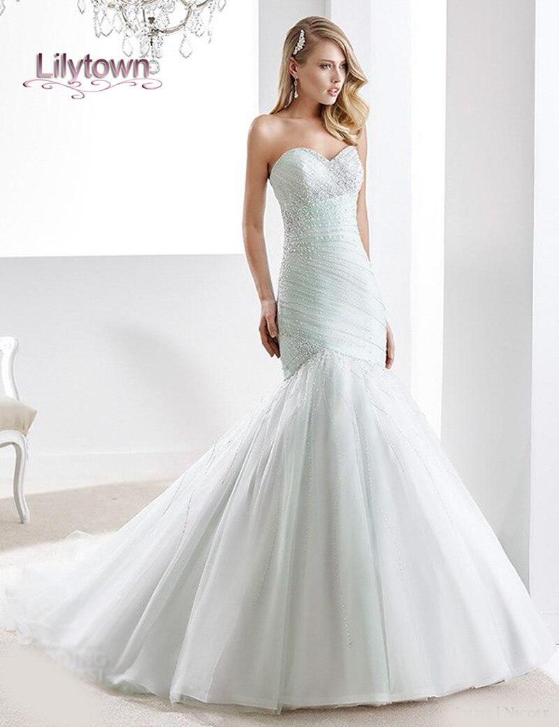 2016 Wedding Dresses Strapless Sweetheart Neckline Beaded Tulle ...