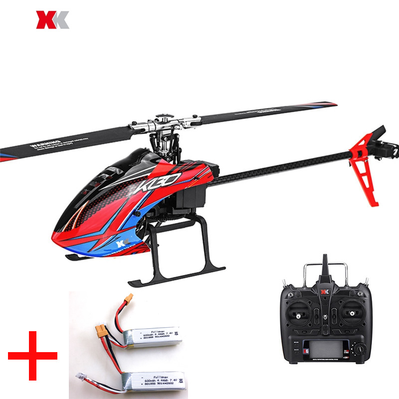 with 2 Batteries Original XK K130 6CH Brushless 3D6G Flybarless RC Helicopter X6 Transmitter RTF