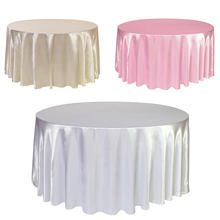 1pcs Satin Tablecloth 57''90''120'' White Black Solid Color For Wedding Birthday Party Table Cover Round Table Cloth Home Decor(China)