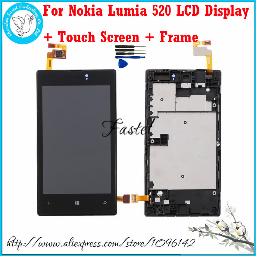 For Nokia Lumia 520 LCD Display Touch Screen Digitizer Assembly + Bezel Frame Replacement LCD + Tools, Black Free Shipping!!! black lcd display touch screen digitizer assembly with bezel frame for nokia lumia 1520 replacements part free shipping