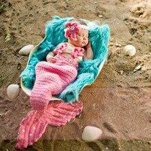 Puseky/детская шапка Русалочка для новорожденных; реквизит для фотосессии; вязанная шапка для девочек; тканый костюм для фотосессии; реквизит для детей 0-6 месяцев