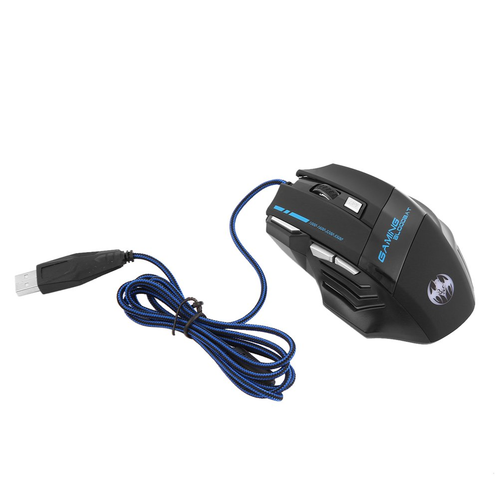 Black 1000DPI-5500 DPI 7 Buttons With Scroll Wheel LED Optical USB Wired Gaming Mouse Mice Computer Mouse For Pro Gamer