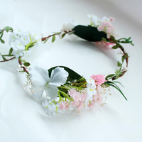 Bride Wedding Hair Crown Flower Wreath Women Girls Hairband Garlands Accessories Ladies Flower Headpiece W/ White Lace Veil