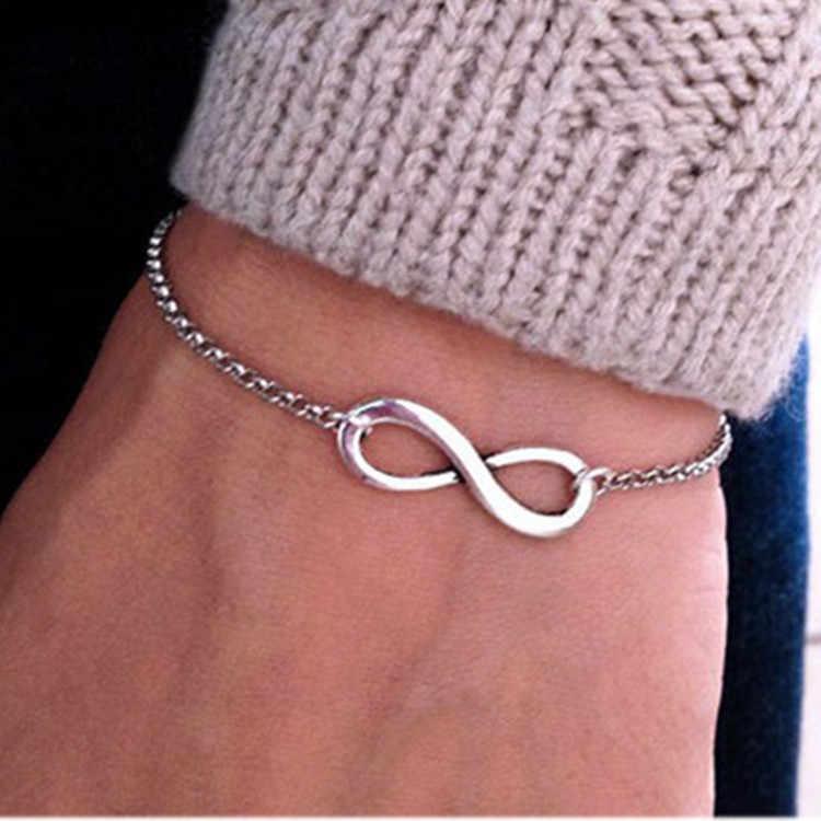 2017 proste moda łańcuch bransoletki bransoletka nieskończoność osiem kształt srebrny złoty Charm bransoletki bransoletki dla kobiet Pulseras