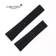 CARLYWET 22mm Black Suede Real Leather Replacement Wrist Watch Band Strap Belt Loop No Buckle