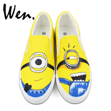 Wen Minions Despicable Me Design Custom Hand Painted Canvas Sneakers Man Woman's Slip On Shoes Birthday Gifts