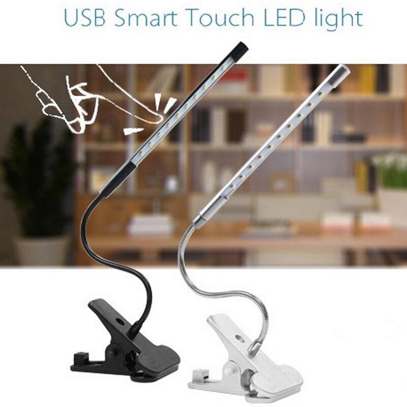Tactile Dimmable Flexible USB LED de soins Oculaires Lampe de Lecture Réglable LED Solide Clip Lampe de Bureau pour Ordinateur Portable Chambre Étude éclairage