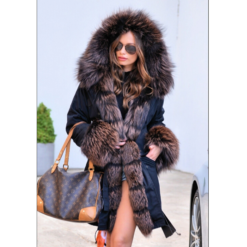 FURSARCAR Women Fur Parka Down Black Jacket With Fur Hood Fashion Winter Natural Fur Parka With