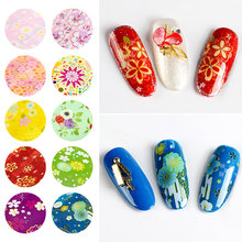 10 pieces holographic nail foil leaf  Mix flower Design transfer polish stickers Nail Art decoration slider decals