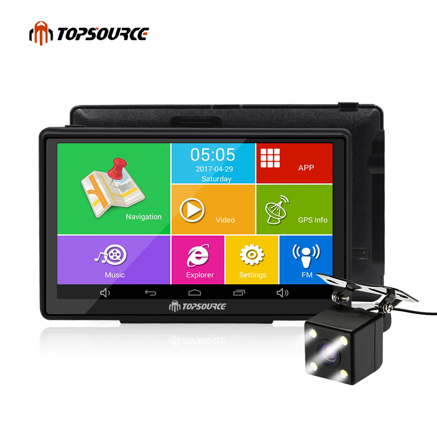 купить TOPSOURCE 7 inch car gps navigation android 8GB AVIN automobile navigator Europe/USA/Russia/Spain/navitel Map truck gps sat nav по цене 4412.08 рублей