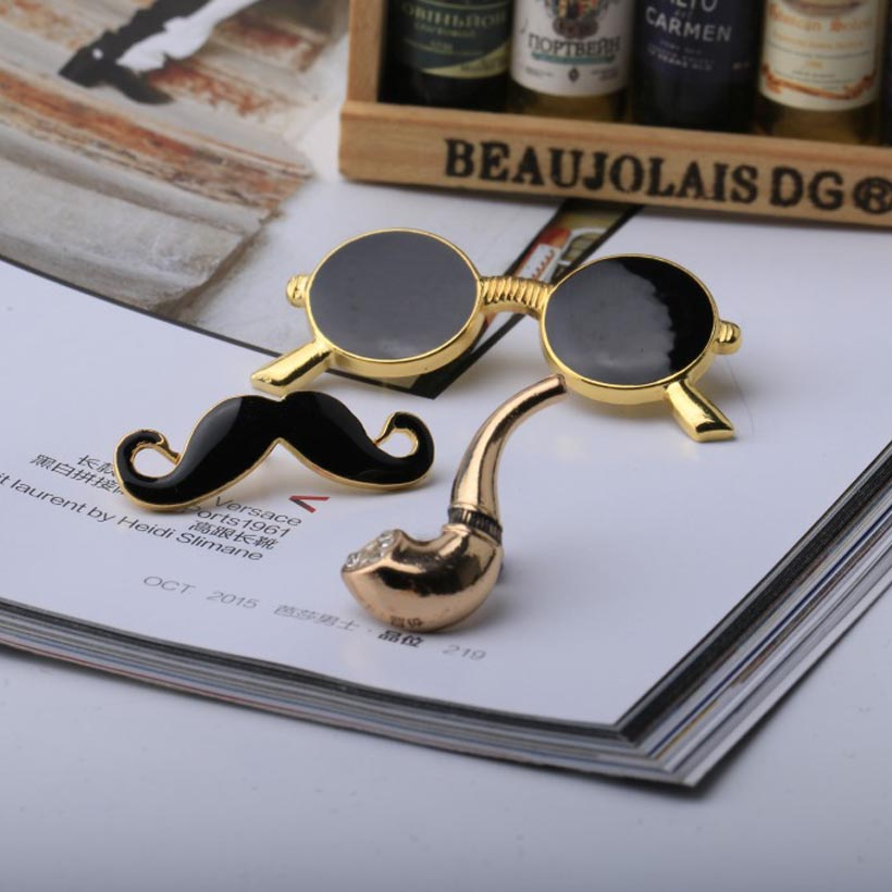 Vintage fashion jewelry lapel pin set – Beard Pipe, Glasses