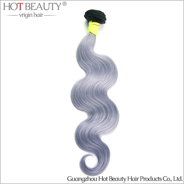 Russian Virgin Hair Grey Purple Ombre Hair Extensions Body Wave