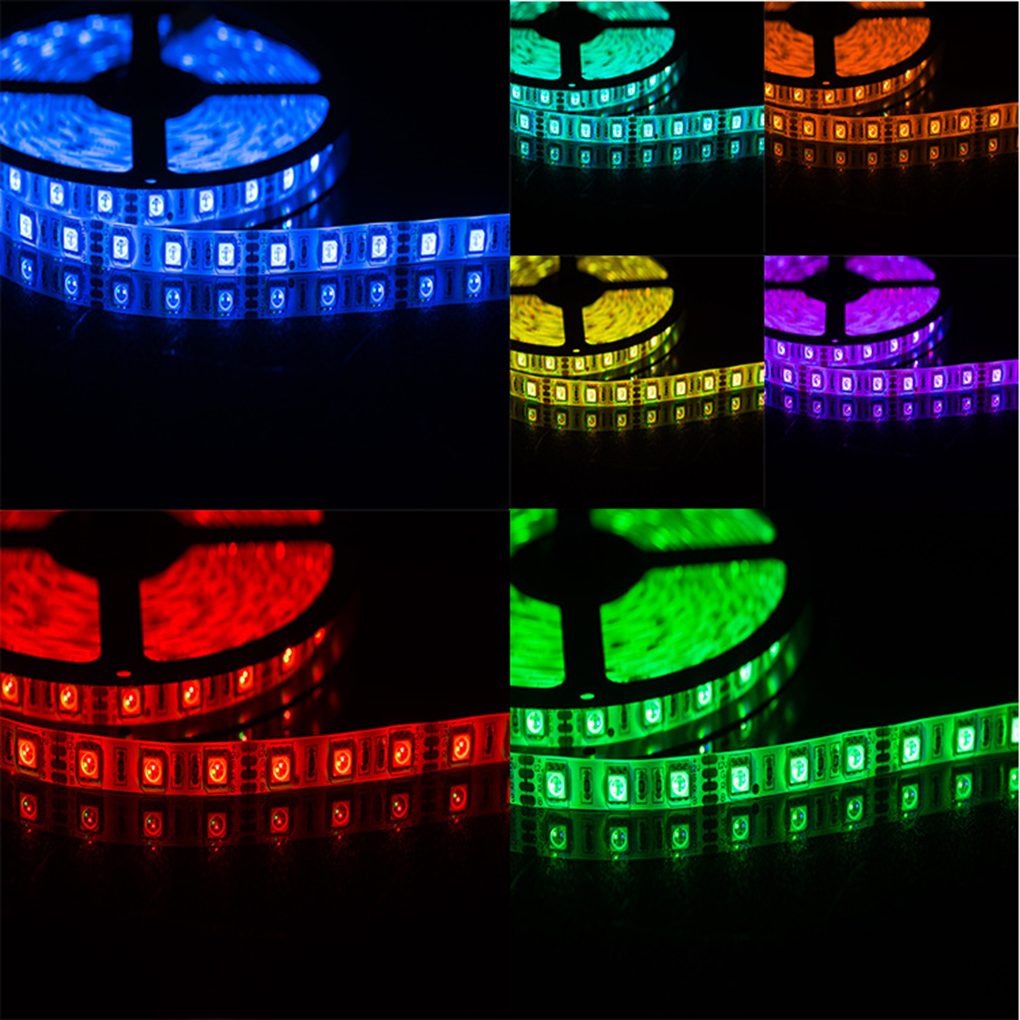 Wireless Control Smart Dimmable 5M 2A 60W 12V RGB LED Strip Waterproof LED Tape Light for Alexa Android IOS