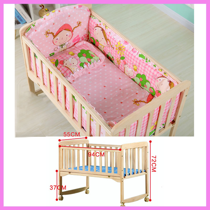 Baby Wooden Crib with Mosquito Net Baby Rocking Crib with Roller Newborn Infant Game Bed Computer Table Baby Cot Bedding Set cute baby crib 4pcs portable comfortable babies pad with sealed mosquito net mattress pillow mesh bag newborn sleep travel bed