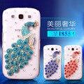 Manderm rhinestone case capa para samsung galaxy duos i8552 i8558 win phone case protetora pavão strass casos de telefone celular