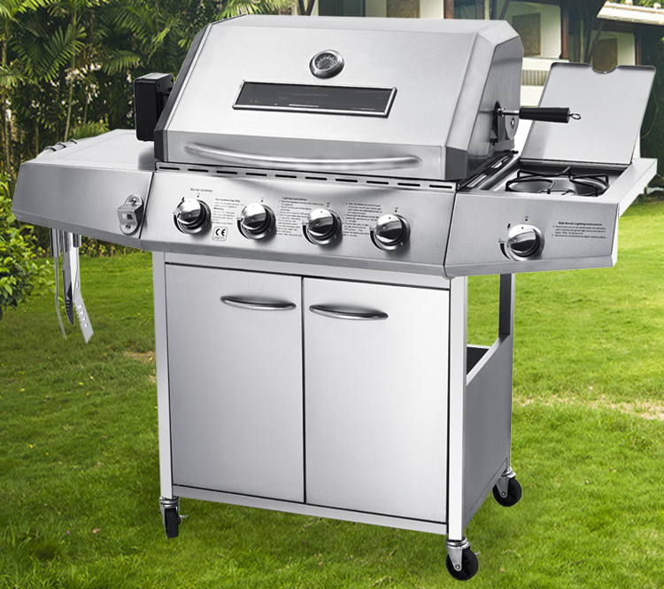 Gas Stove With Grill ~ High quality four burners sider burner gas bbq grill