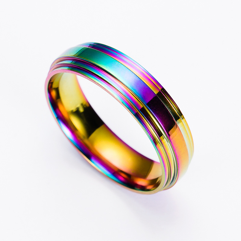 Rainbow Wedding Rings: Fashion Men Titanium Ring High Quality Rainbow Titanium