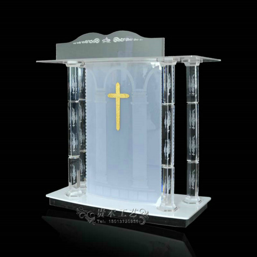 Crystal Column Church Podium Fixture Displays Tabletop Acrylic Plexiglass Podium Pulpit Lectern Clear Lucite