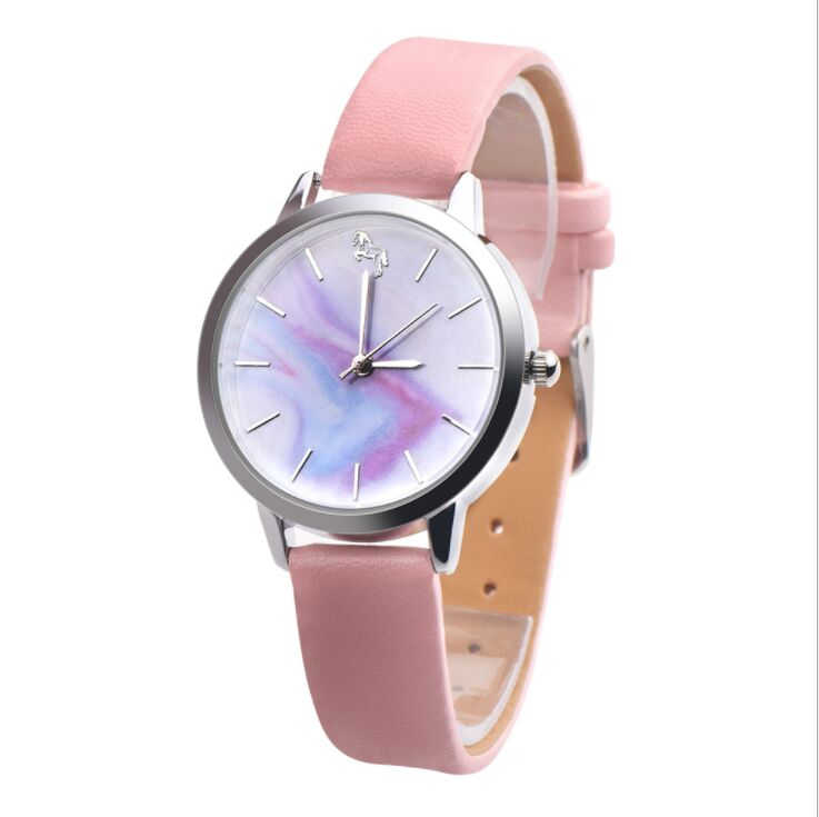 Drop Shipping Cartoon Beautiful Girl Unicorn Style Children Students Girl's Leather Quartz Watch Relogio Feminino