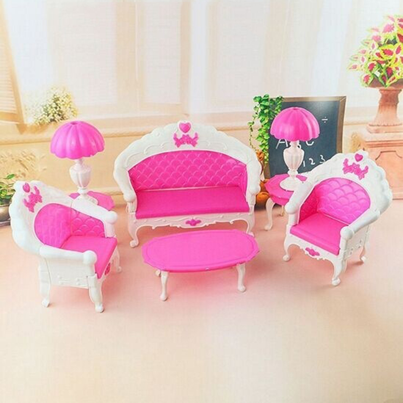6pc Set New Mini Pink Kids Baby Girls Cute Toy Pinks Doll Furniture Living Room