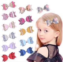 4inch Double Layer Glitter Hair Bows Bowknot Girls  Hairpins Party Clips barrettes Princess Accessories Headwear J37