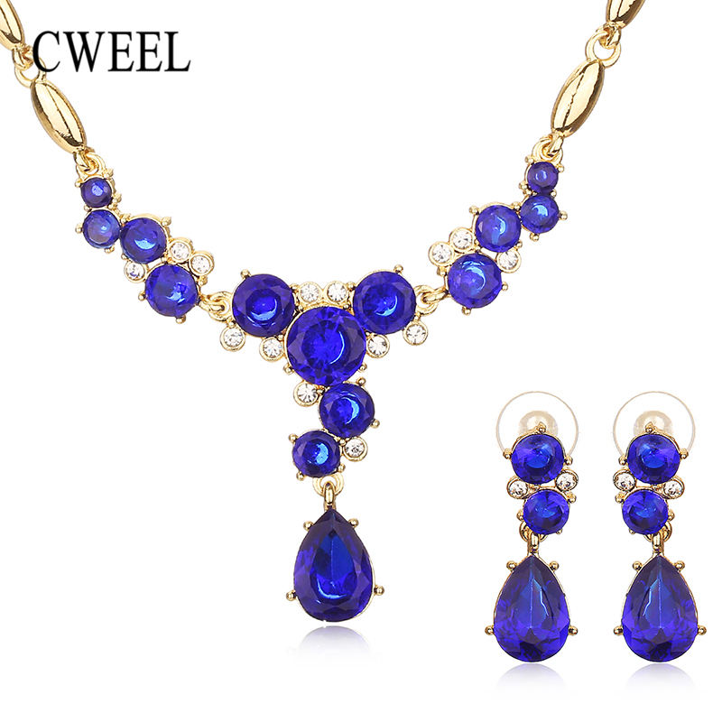 CWEEL Jewelry Sets for Women Fashion Gold-color Dubai Rhinestone Necklace Earrings Flower Wedding African Bead Jewelry Set