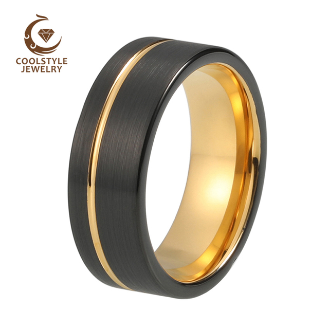 8mm Two Tone Black Yellow Gold Color Tungsten Carbide Wedding Band Engagement Ring Silver Brushed Center