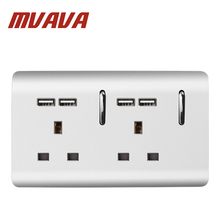 MVAVA 148*88MM Double UK Standard 13A Wall Socket With USB Socket With LED Indicator Sliver PC Series 3 Pin UK Wall Socket