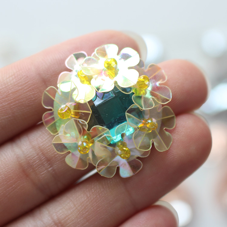 Arts,crafts & Sewing Patches Well-Educated 10 Pcs High-grade Yellow Translucent Small Flower Bag/hair-clip/dress Garment Accessories Beaded Applique Patches For Clothingl
