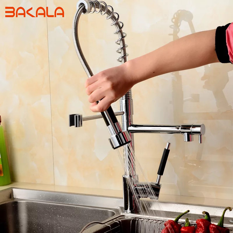 New Free Ship Pull Out Faucet Kitchen Chrome Sink Mixer Tap Double Handle 50cm height CH-8002 kitchen chrome plated brass faucet single handle pull out pull down sink mixer hot and cold tap modern design
