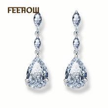 FEEHOW Luxury Design AAA+Cubic Zirconia Dangle Drop Earring For Women Wedding Bridal Free Shipping FWEP497 gulicx zircons elegant drop aaa cubic zirconia long big crystal bridal earring for wedding jewelry