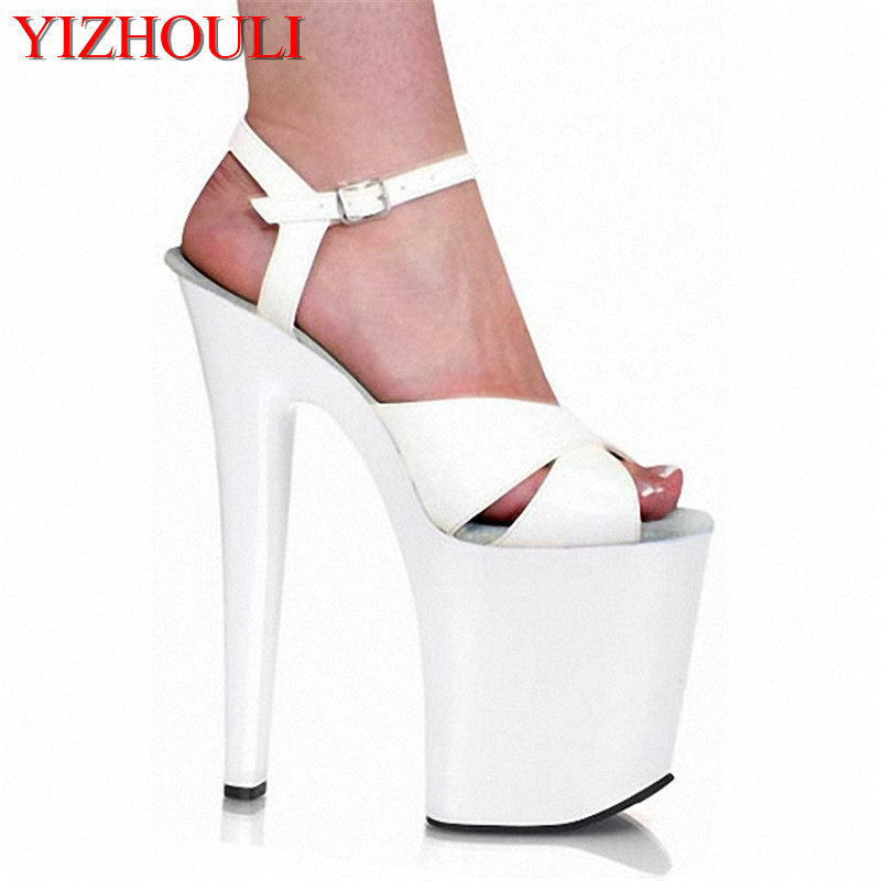 Star sexy performance shoes white bride wedding shoes ultrafine 20cm ultra high heels sandals womens 8 Inch Sexy Dancer Shoes 20cm pole dancing sexy ultra high knee high boots with pure color sexy dancer high heeled lap dancing shoes