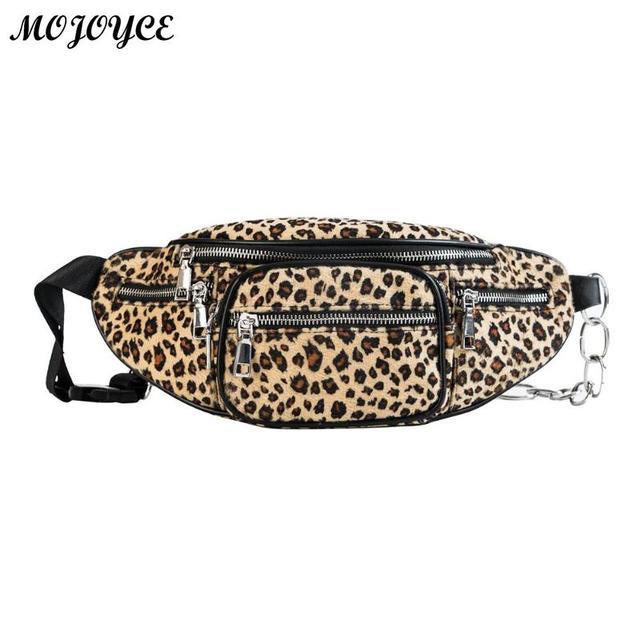 0abf3673af74 New Leopard Fleece Waist Bag Casual Chest Shoulder Handbag Travel Leisure Fanny  Bags 2018 Winter Women Waist Belt Bags Bolso