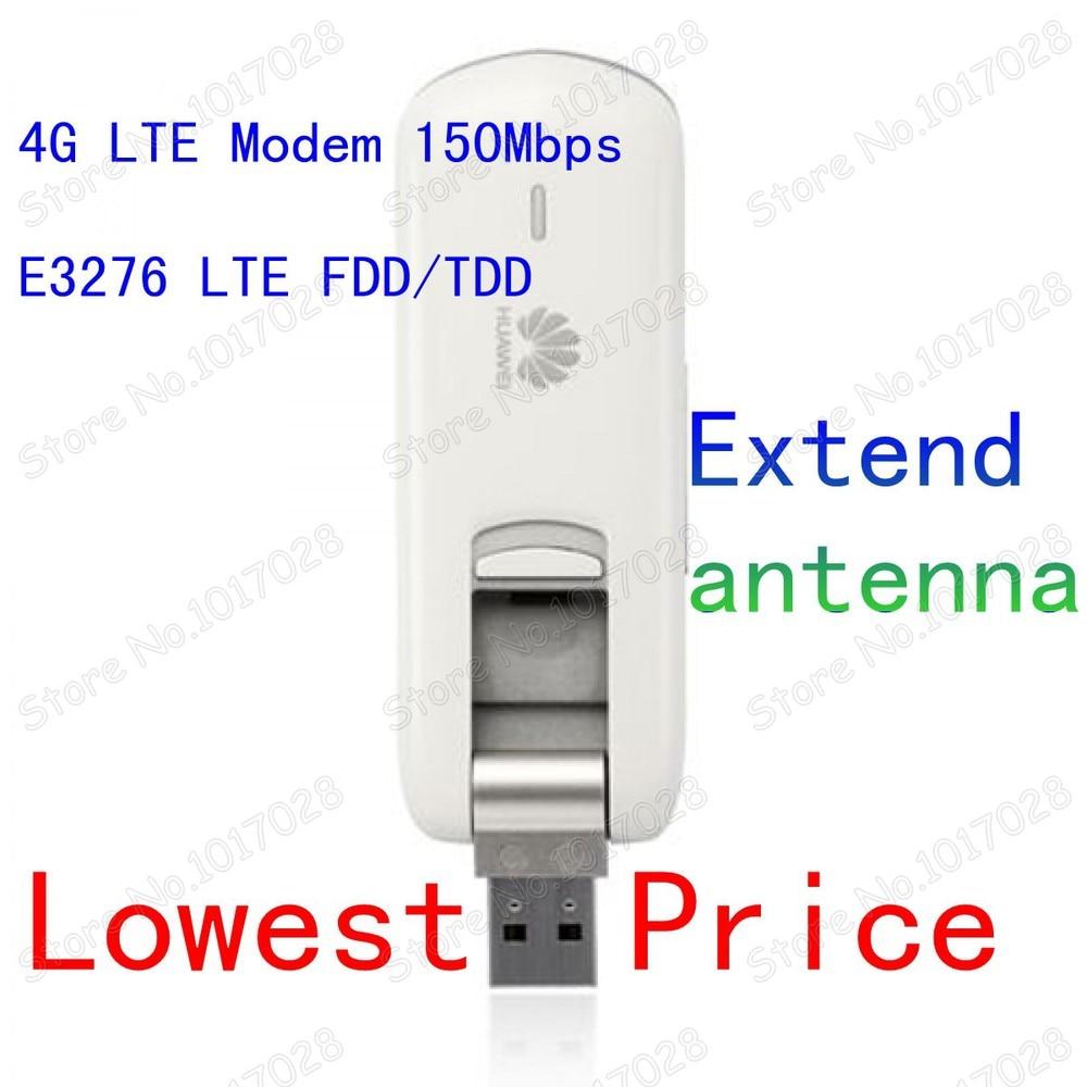 E3276-150 Módem Huawei 4G LTE Antena extendida LTE Módem USB FDD / TDD 150 Mbps HSDPA WCDMA Módem USB LTE 2G 3G Tarjeta de datos USB 4G 3G