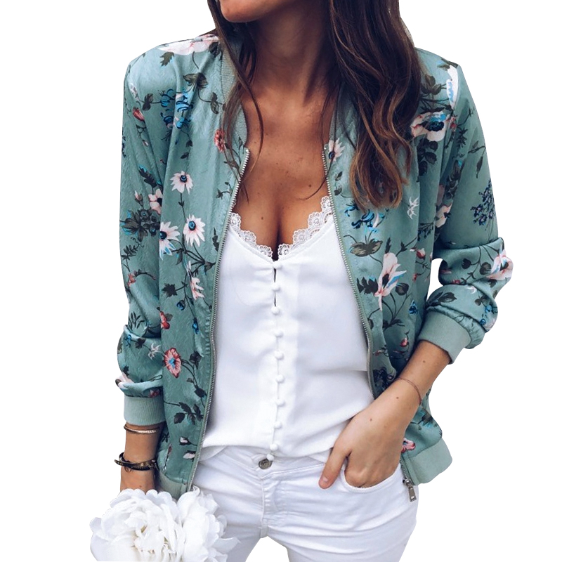 Vintage Floral Zipper Up   Basic     Jacket   Women Mandrain Collar Print Zipper Casual Coat Winter Women Outerwear Clothes Autumn New