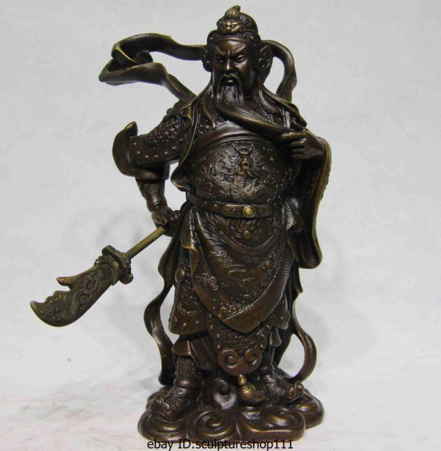 Chinese Folk Copper Bronze Leader Guan Gong Dragon Guan Yu Warrior Buddha Statue  Garden Decoration 100