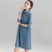 Долго назад Хай суконный пуловер Платья свитеры осень зима толстый теплый с длинным рукавом, свободные Платья свитеры LJ1014