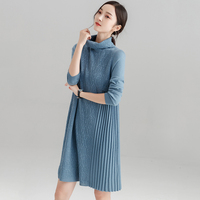 Long Back High necked Pullover Sweater Dress Autumn Winter Thick Warm Long Sleeve Solid Wool Loose Sweater Dress LJ1014