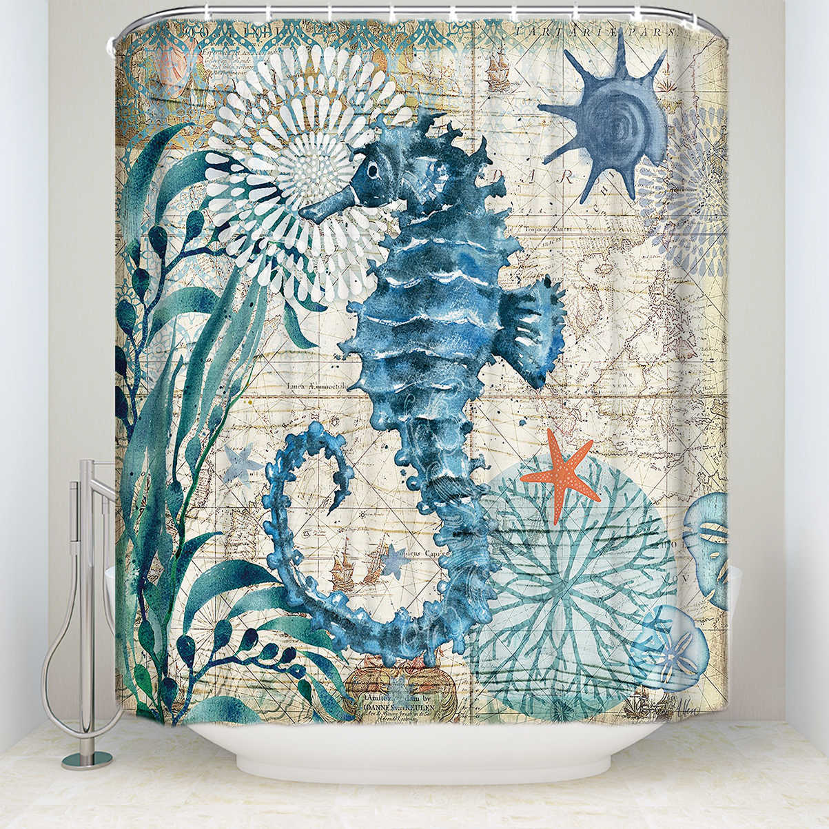 Tecido cortina de chuveiro tartaruga do mar casa decoração acessórios do banheiro à prova dwaterproof água poliéster baleia octopus seahorse banho cortinas