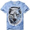 2017 Homens Tshirt Homme Nova Camisetas Novidade lobo animal urso Camisetas Tshirts de Impressão 3D Tops O-pescoço Manga Curta BTML009