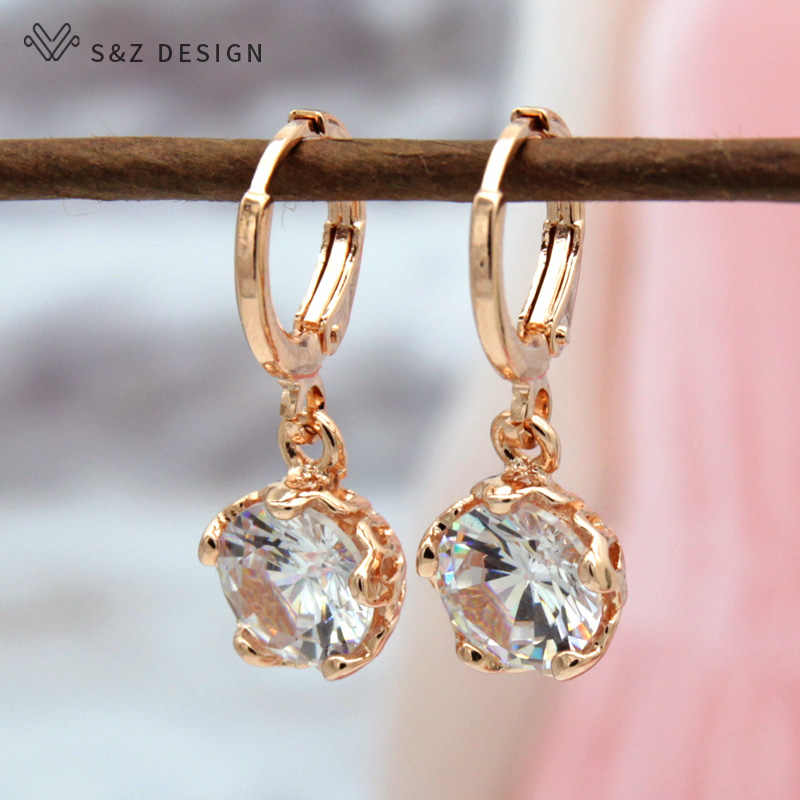 S&Z Attractive Design Flower 585 Gold Color Round Cubic Zirconia Earrings Korea  Woman Girl's Dangle Warrings For Gift