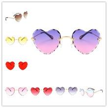 Women Stylish Heart Shaped Rimless Sunglasses Thin Metal Fra