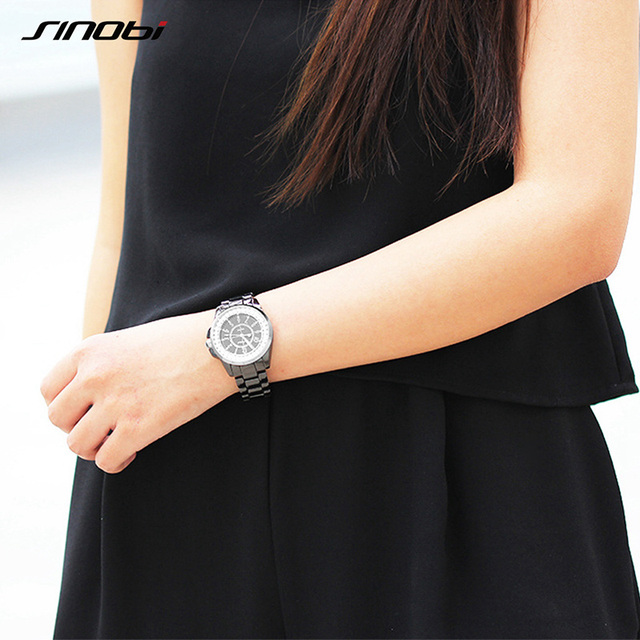 SINOBI Fashion Top Luxury Ladies Rhinestone Watch Crytal Womens Quartz Wristwatches Model J12 Female Clock Geneve Relojes Mujer