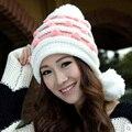 New 2016 Winter Cap Women Warm Woolen Knitted Fashion Hat For Gilrs 3 hair ball Earmuffs Beanie Cap Woman Fur Cap Accessories