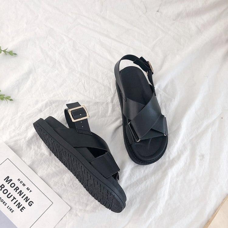 Shoes Women 2018 Summer Fashion New Hot Women's Shoes Amazon Flat Bottom Roman Cross Belt Sandals