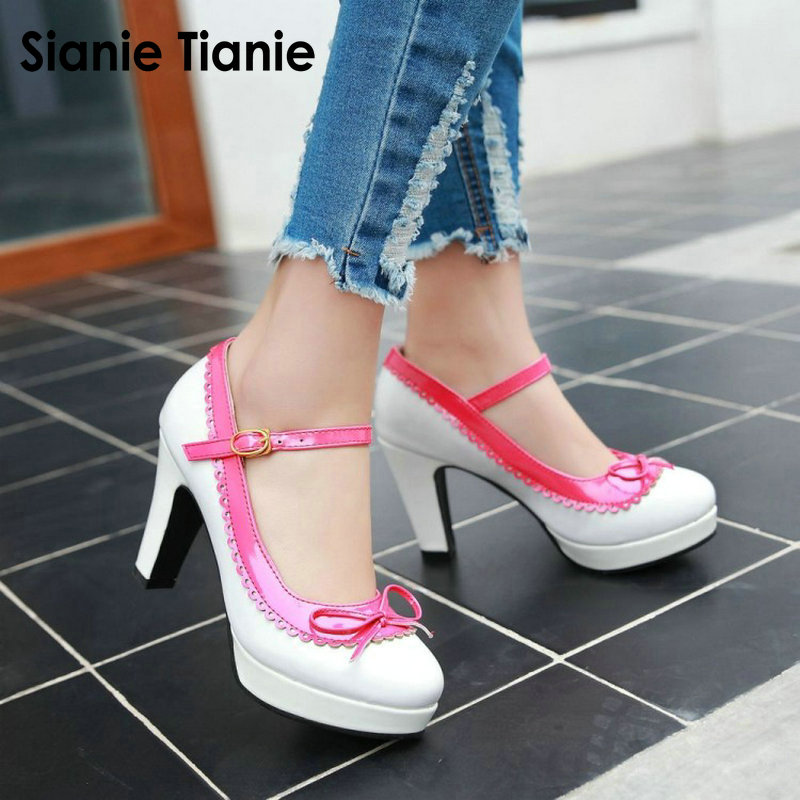Sianie Tianie Big size 33-43 Wedding Bridal Shoes Party Platform Pumps High Heels Women Shoes Mary Janes With Butterfly-knot sarairis new plus size 31 43 spring mary janes shoes high heels party platform shoes woman wedding shoes women red pumps