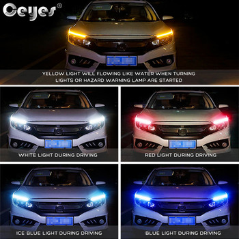 Ceyes Car Daytime Running Lights 12V Day Lights DRL LED Styling Accessories Flexible Headlight Auto Universal Turn Signal Strips image
