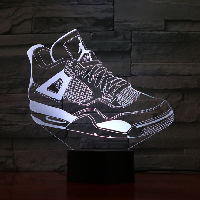 huge discount 9faaf 34763 Jordan Retro 4 Shoes Basketball Lamp Bedside Decor 3D Illusion Touch Sensor Boys  Kids Gift Led Night Light Air Jordan 4 Sneakers